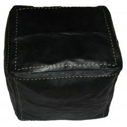 Pouf marocain cube en cuir noir