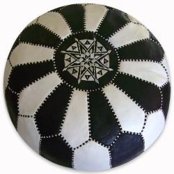 Pouf marocain damier noir et blanc