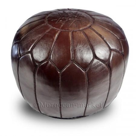 pouf design cuir chocolat