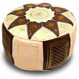 Pouf traditionnel en cuir marron