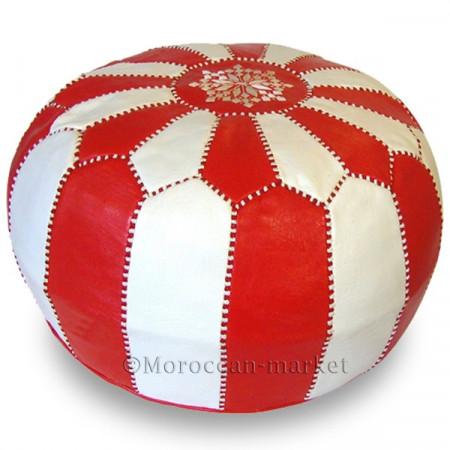 Pouf design rouge et blanc