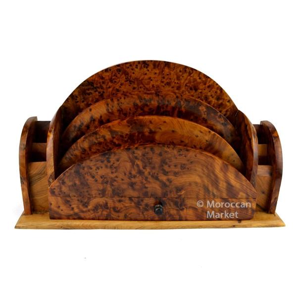 magnifique classeur artisanal en bois de thuya fabriqu par des artisans marocain. Black Bedroom Furniture Sets. Home Design Ideas